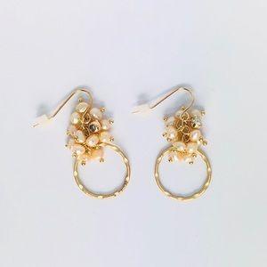 New! Rose Gold Textured Hoop Faux Pearls Earrings